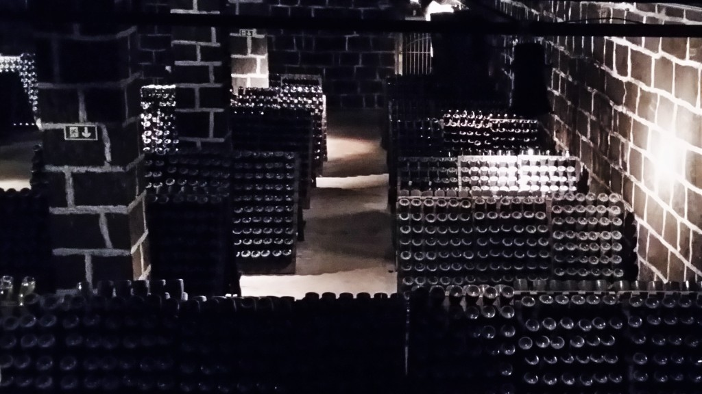 A primeira cave subterrânea do Brasil. Ao fundo, grade do antigo túnel de refrigeração natural usado na fabricação