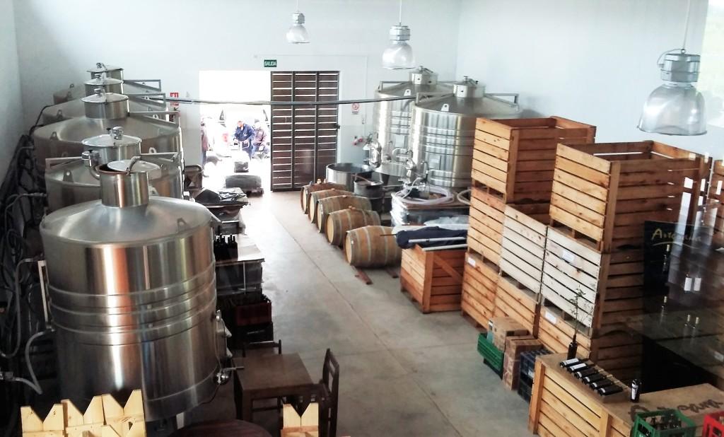 Galpão onde ficam os tanques de armazenamento e onde ocorre parte do processo de produção da vinícola