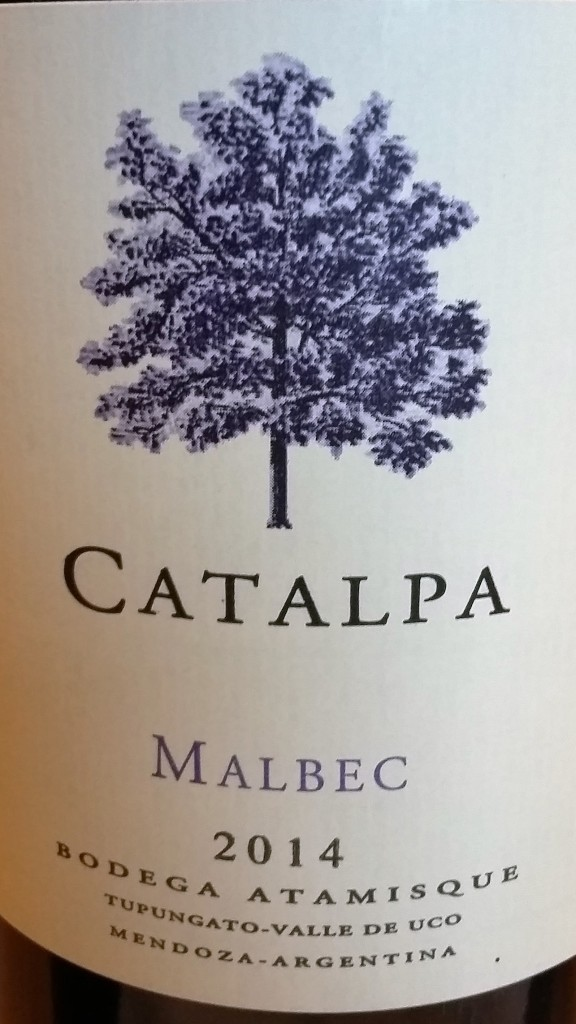Atamisque visita - vinho Catalpa Malbec - rótulo árvore