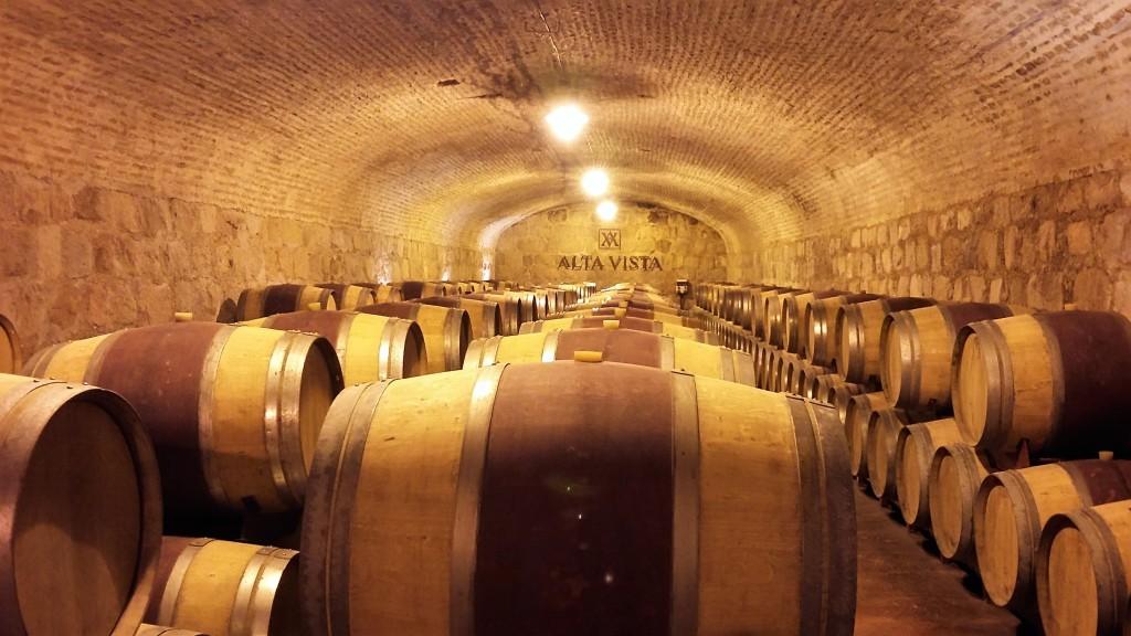 Sala de barricas: produção de 2,5 milhões de garrafas por ano, 70% delas para exportação