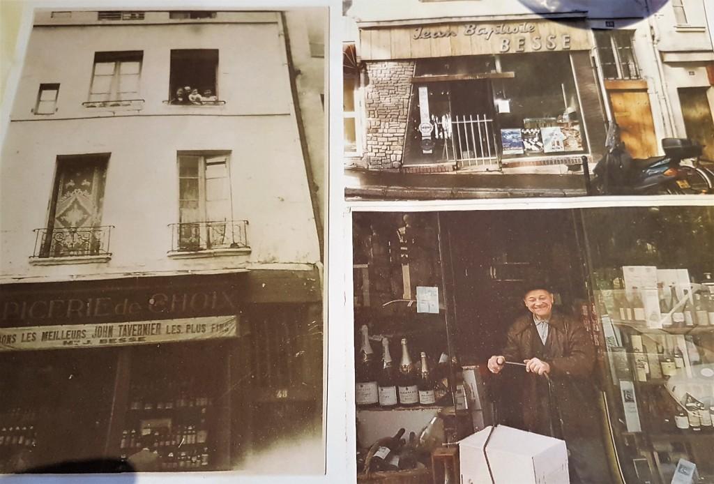 O antigo proprietário, Jean-Baptiste Besse, na porta da velha loja