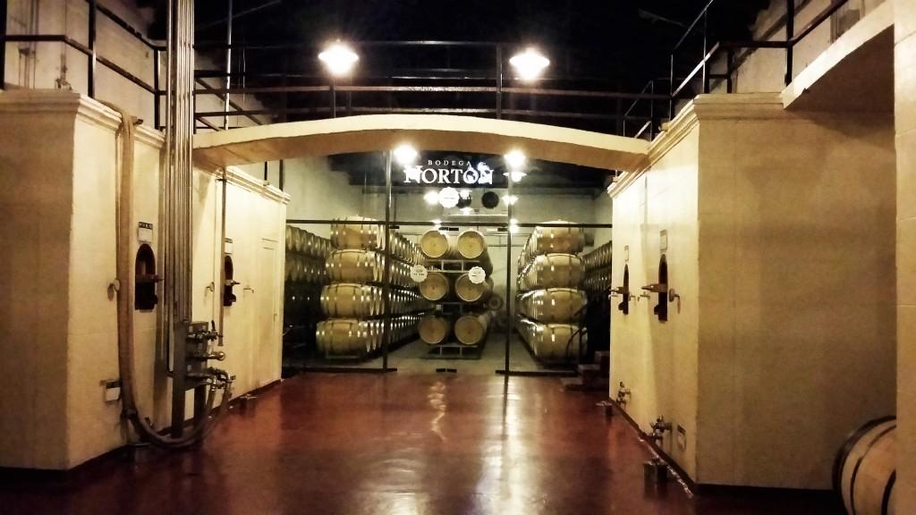 Tanques de concreto e barricas onde amadurecem os vinhos 'premium'